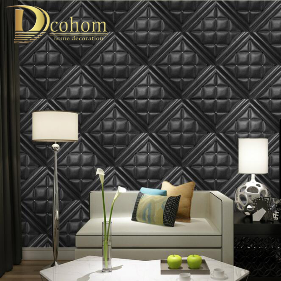 Modern luxury faux leather soft bag 3d wallpaper for walls for Vinyl wallpaper for walls