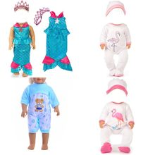 1 Set Crown Mermaid Fishtail Cosplay Dress Pajamas Costumes Lingerie Sleepwear Clothes Doll Clothes Suit For 18 Inch Doll Gift(China)
