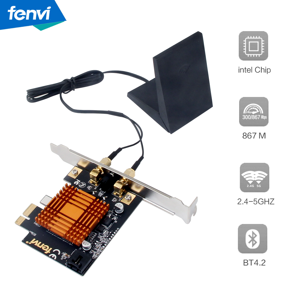 Fenvi Dual Band Intel AC1200 MU-MIMO 802.11ac WiFi+Bluetooth 4.2 PCI-E Wlan 2.4Ghz /5G 867M Desktop Wireless PCI Express Adapter