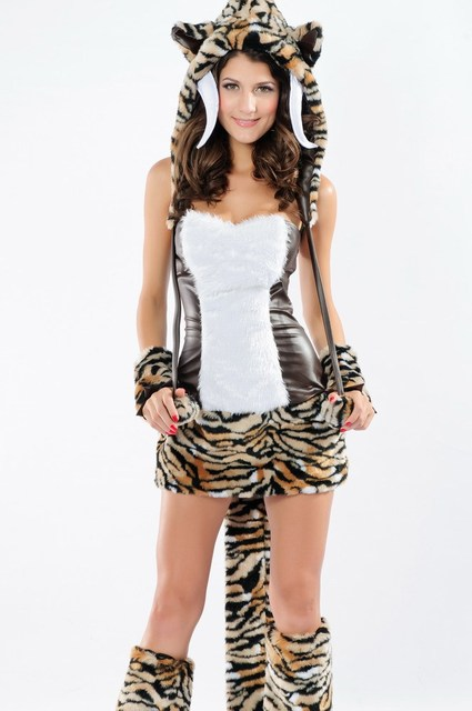 341834e8e825 Plus Size Wild Animal Costume Sexy Sabertooth Complete Outfit LC8631 Halloween  Costume For Women Fancy Dress