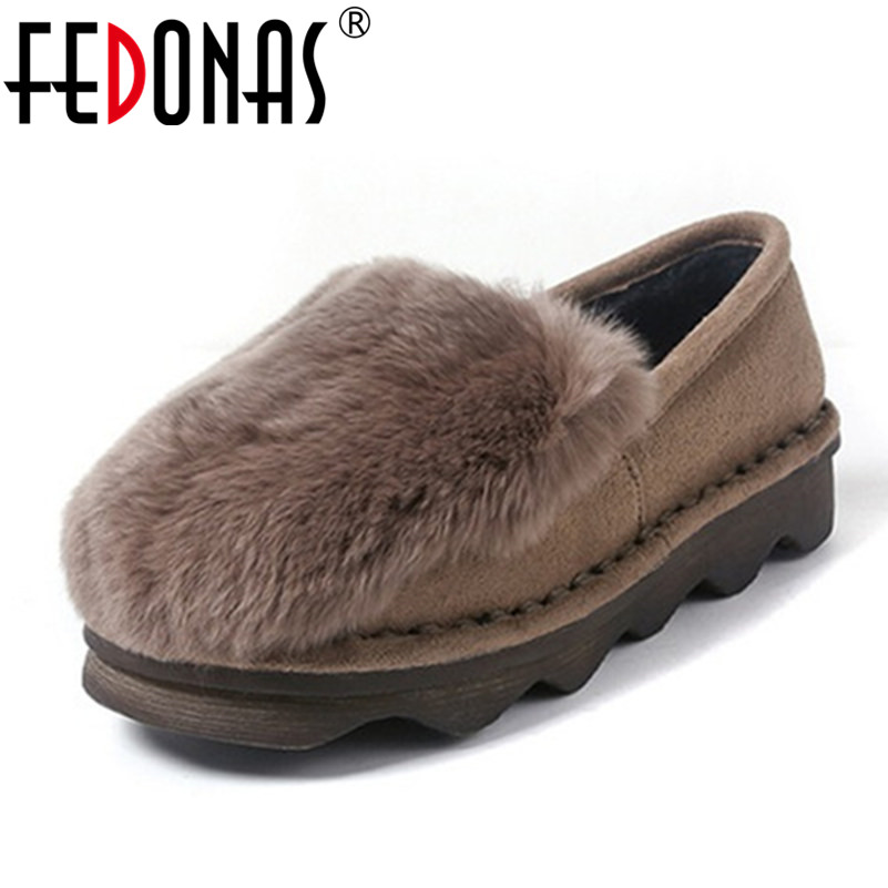 FEDONAS Fashion Women Sweet Flats Shoes Female Warm Loafers Plush Inside Snow Shoes Woman Rabbit Fur Casual Shoes Euro 34-41