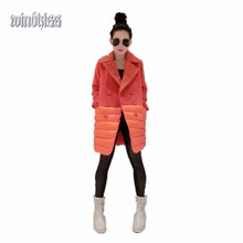 Зимы женщин Парки Мода Горячей Продажи 2016 Новый Стиль Casual Кашемир парки V-образным Вырезом Норки Кашемира Шить Пункт Пальто