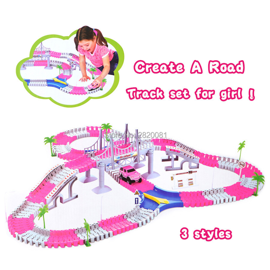 Track car Create a road flexible race track with electronic rail car set,pink for girl gift educational puzzle DIY toy 3tyles