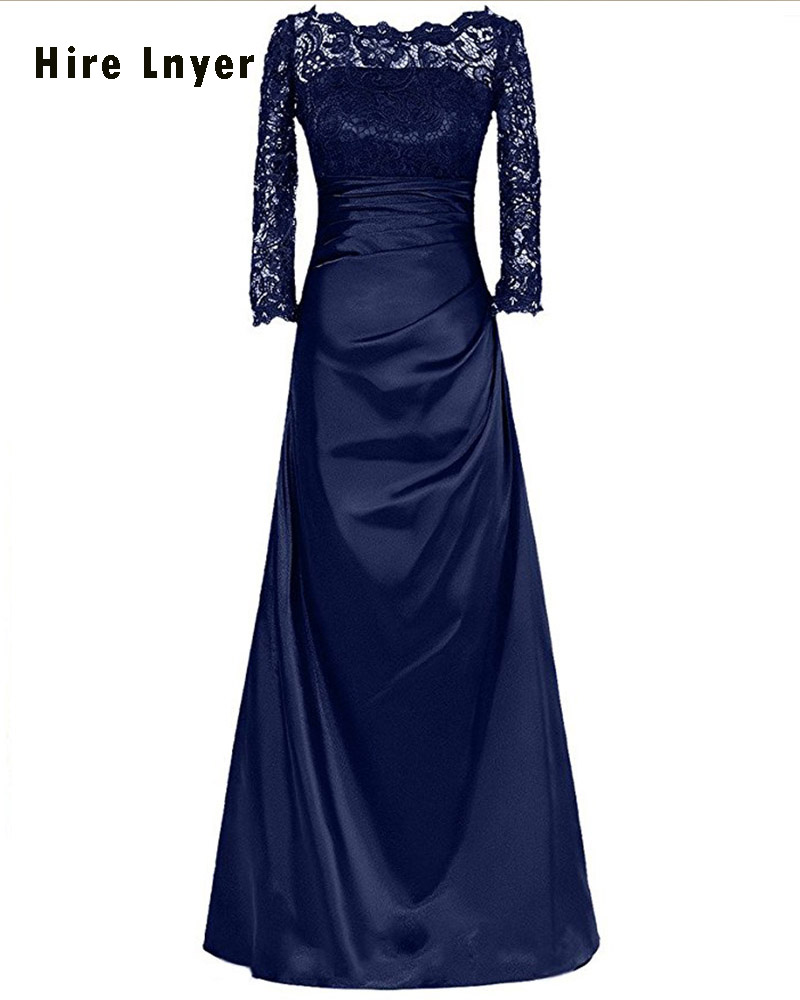 Najowpjg Custom Made Lace Long Sleeve Navy Royal Blue Black Red Chocolate Grape Green Satin Long Mother of the Bride Dresses
