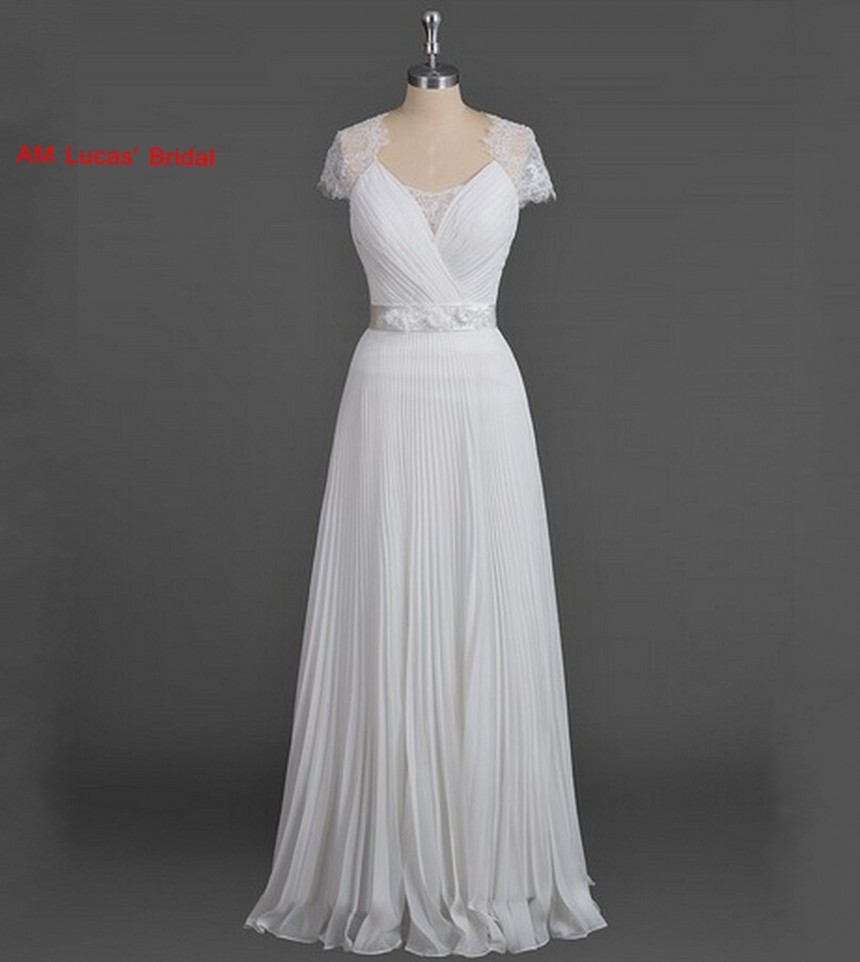 Long Wedding Dresses Lace Cap Sleeve Bridal Party Gowns