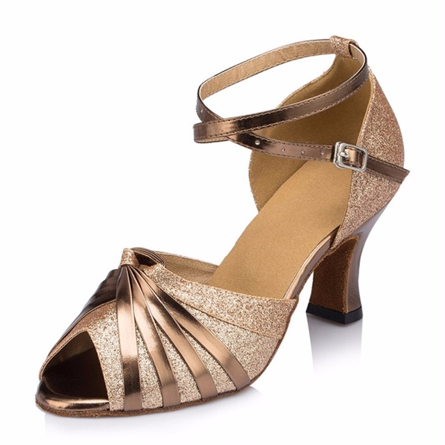 ef03c388 Personalizado tacones Peep Toe de plata de oro Salsa salón de baile zapatos  de baile latino