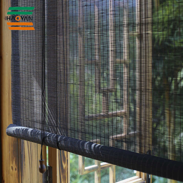 Popular bamboo blinds/bamboo roller blinds/ready made curtain/curtain fabric curtain window black bamboo curtain Haoyan