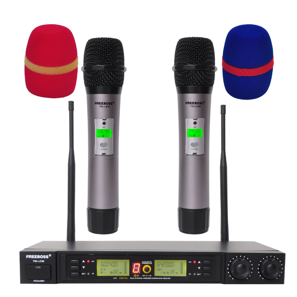 Freeboss FB-U08 2 Way 200 Channels PLL IR UHF Wireless Microphone With 2 Handhelds For Karoke KTV Party UHF Dynamic Microphone