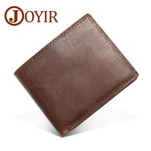 JOYIR Genuine Crazy Horse Leather Men Wallets Vintage Short Wallet Coin Pocket Purse Cowhide Rfid For