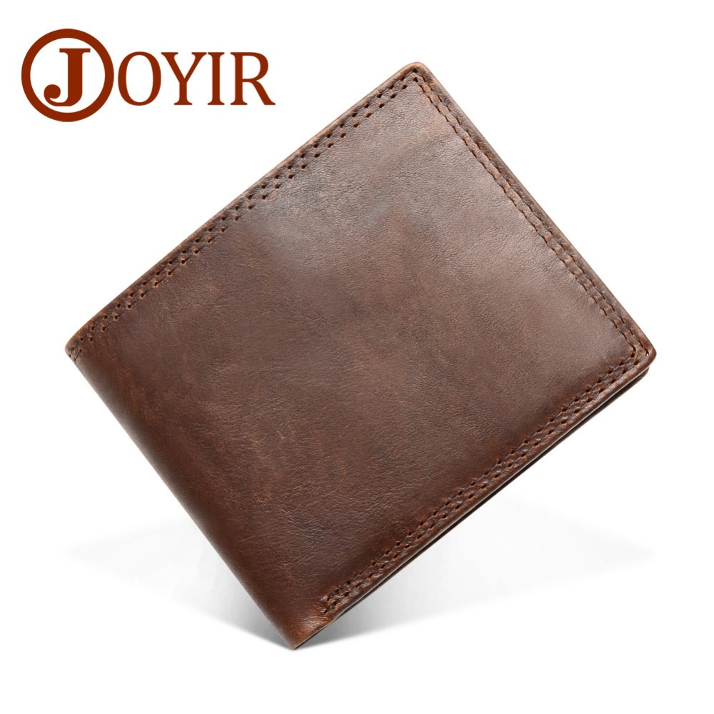 JOYIR Genuine Crazy Horse Leather Men Wallets Vintage Trifold Wallet Zip Coin Pocket Purse Cowhide Leather Rfid Wallet For Men