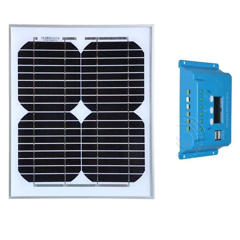 Kit Panneau Solaire 12 v 10 W contrôleur de batterie Solaire 12 v/24 v 10A PWM LCD chargeur Solaire Usb voiture Camping bateau caravane lumière téléphone