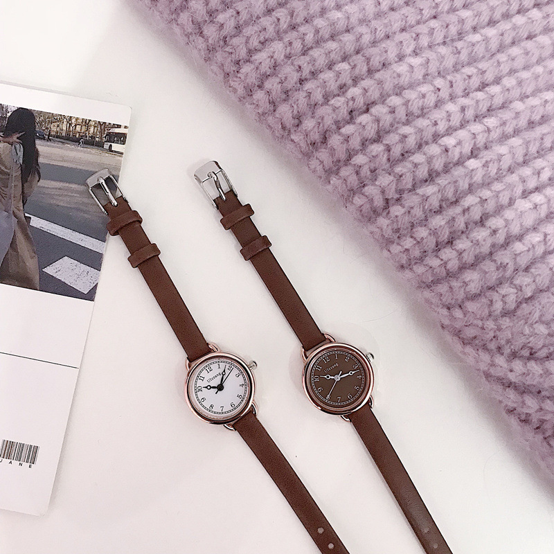 Retro Simple Ladies Wrist Watches Ulzzang Luxury Fashion Brand Small Quartz Women Watch Elegant Leather Female Clock