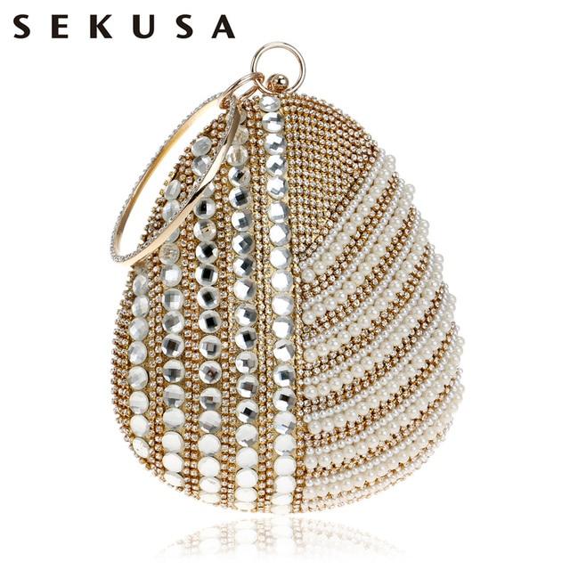 SEKUSA Pearl Imitation Women Evening Clutch Bag One Side Rhinestones Beaded Handmade Style Chain Shoulder Party Evening Bag