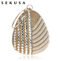 SEKUSA Pearl Imitation Women Evening Clutch Bag One Side Rhinestones Beaded Handmade Style Chain Shoulder Party Evening Bag