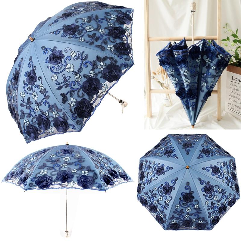 OnnPnnQ New Two Folding Umbrella Women Double Layers Of Lace Embroidery Umbrella Strong Frame Sun Rain Gear Windproof Umbrellas