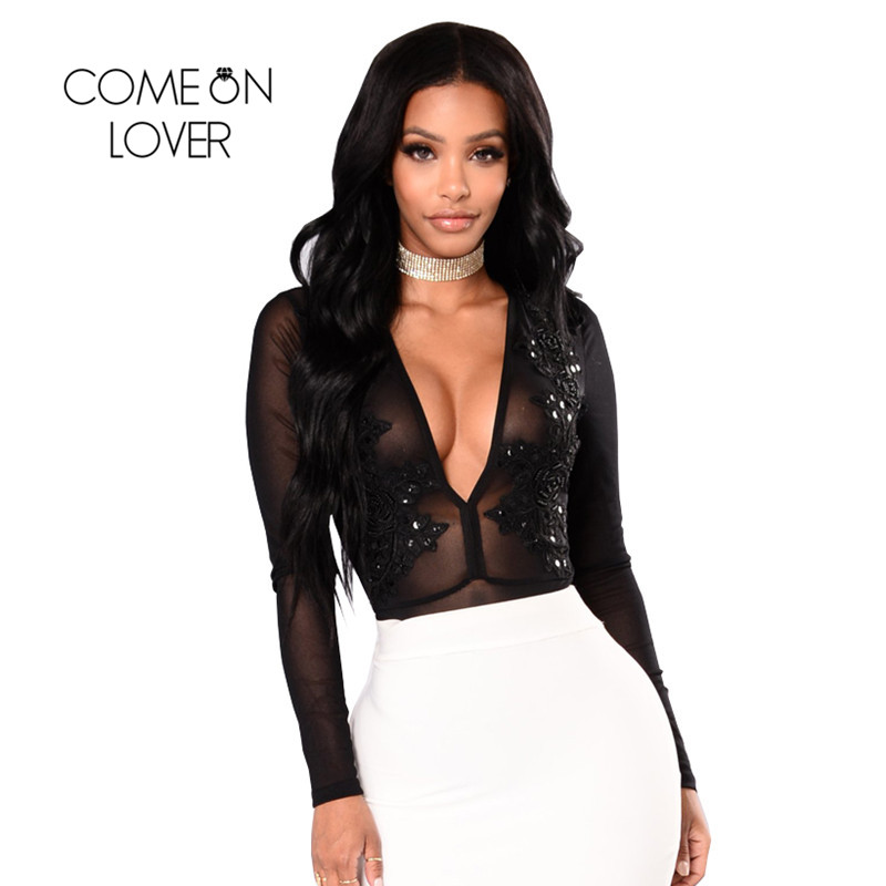 9502be343ef Comeonlover Bodysuit Long Sleeve Flowers Applique Plus Size Rompers Mesh  See Through Plus Size Rompers Women Bodysuit RI80612 Detail Show