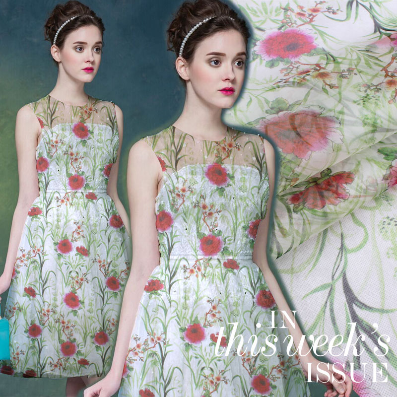 Digital inkjet silk organza yarn fabric breathable clothing shirt silk fabric crisp silk fabric for dress tulle fabric cloth