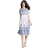 2017 Summer New Autumn Gorgeous Tay Áo Ngắn Sheer Lưới Thêu Váy Boho Phong Cách Hoa Đầm Dễ Thương Đầu Gối Length Dress