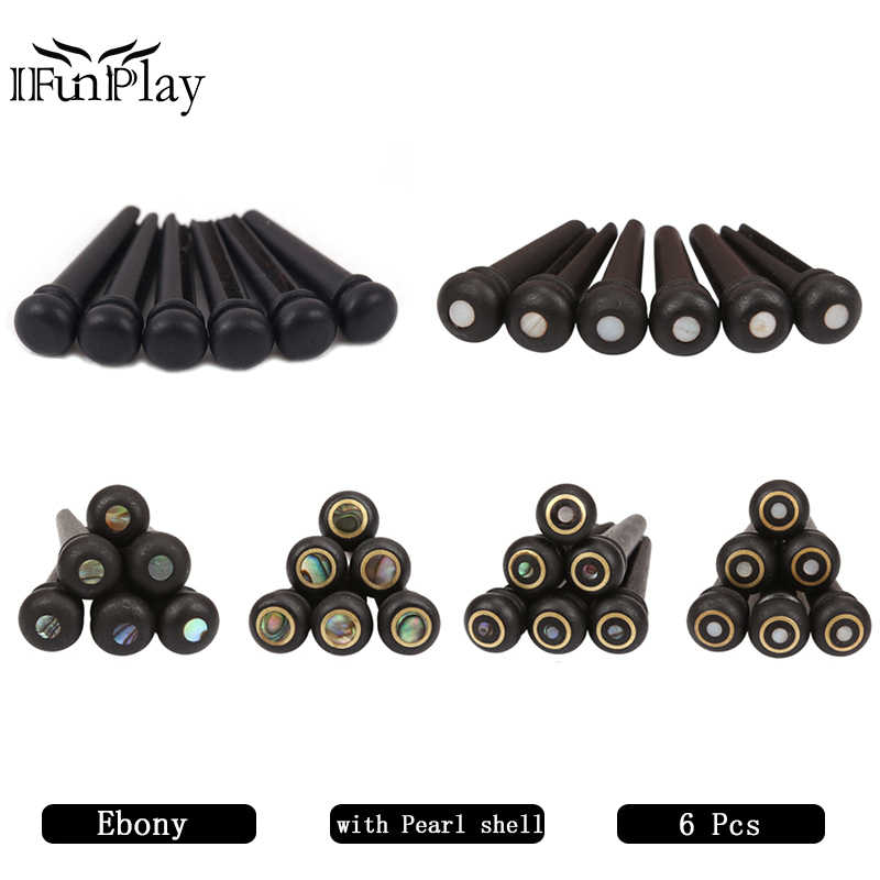 6pcs Ebony Shell Guitar Bridge Pins Set with Brass Circle and Green White Abalone Dot for Acoustic Guitar Accessories