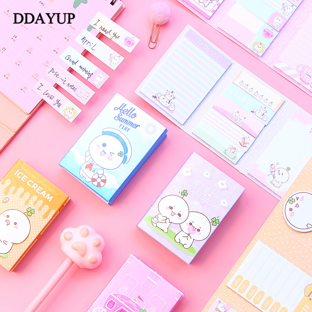 1Pcs Kawaii Cute Cartoon Memo Pad Sticky Notes 6 Folding Gifts School Stationery Supplies