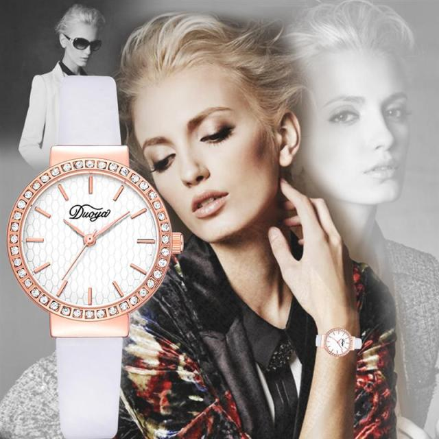 Brand Leather Watches For Women Luxury Crystal Business
