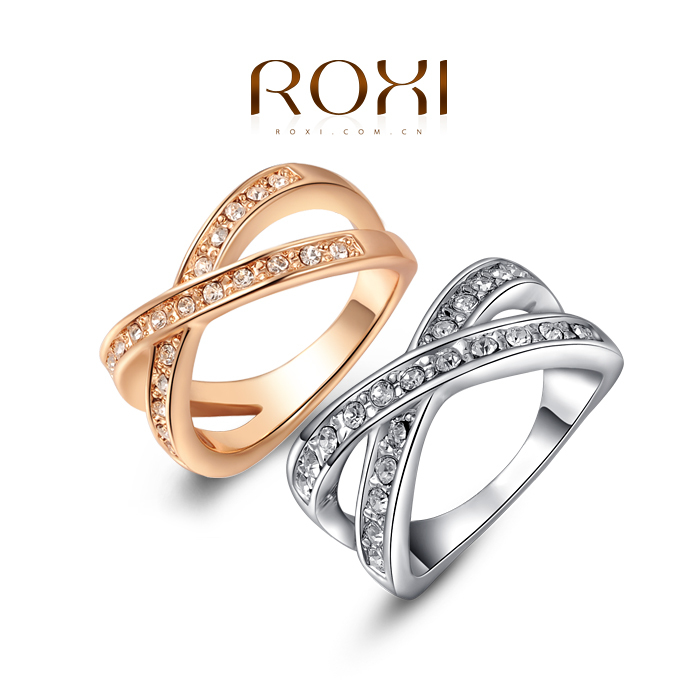 11.11 ROXI Delicate rose gold ring platinum plated with Crystal ...