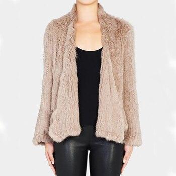 Hot 100% Rabbit Fur Knitted Outerwear   Natural Rabbit Fur Coat   Fur Jacket  BE1413 Free Shipping 1
