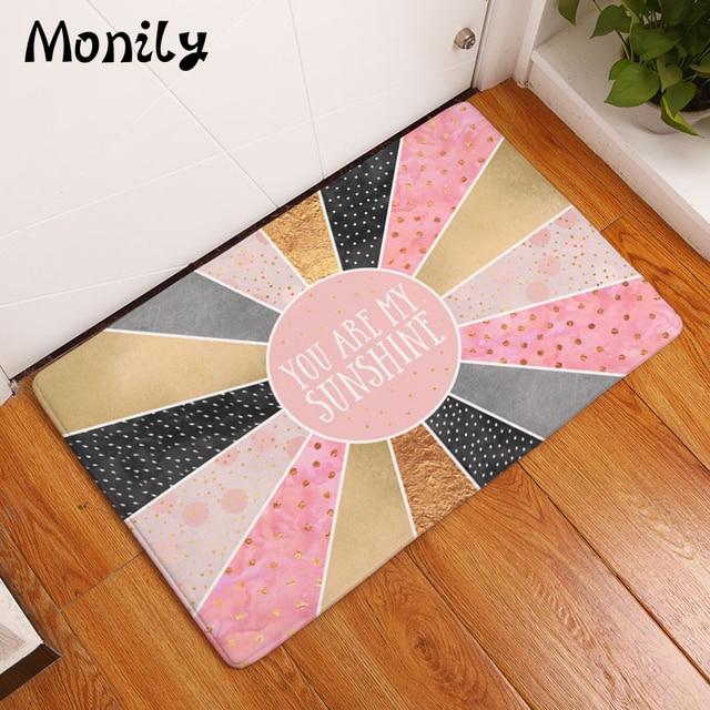 Monily Nordic Waterproof Anti Slip Geometry Door Mat Cartoon Letters Carpet  Bedroom Rugs Decorative Stair