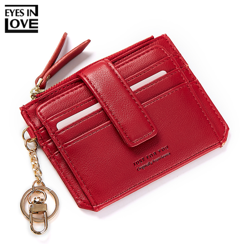 EYES IN LOVE Multi-Function Key Chain Card Holder For Women Credit Card Wallet Female Coin Purse Ladies ID Card Purses Small Bag