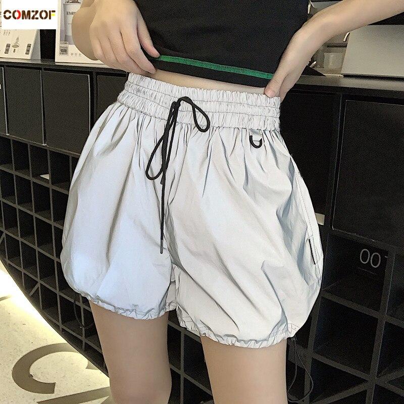 High Quality Women Korean Reflective Shorts High Waist Night Jogging Hip Hop Streetwear Drawstring Shorts Summer Casual Harajuku