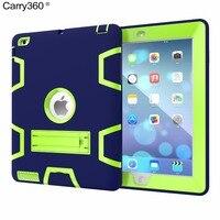 Carry360 القضية لباد 2 3 4 اللوحي الاطفال الآمن درع صدمات الثقيلة السيليكون + pc حامل غطاء ل أبل ipad2 ipad3 باد