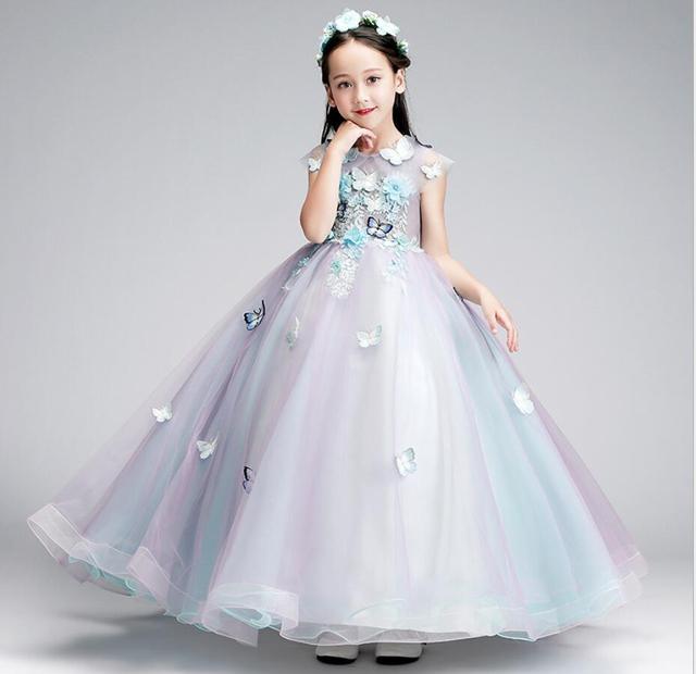 Llegada Las Apliques Vestidos Del Niñas Princesa La Encaje