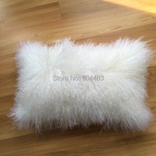 Free Shipping 1 Piece Mongolian Fur Pillow Tibet Skin Pillow Tibet cushion 12″x18″