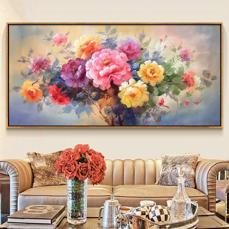 100% pintados à mão flor moderna arte pintura a óleo na lona arte da parede sem moldura imagem decoração para sala de estar decoração casa presente - 4