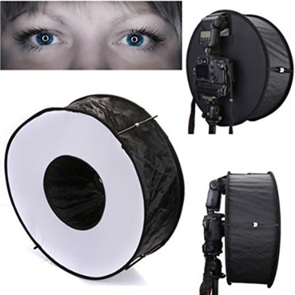 45cm 18 Easy fold Ring Speedlite Flash Softbox Diffuser Reflector For Canon Nikon Godox Macro Shoot