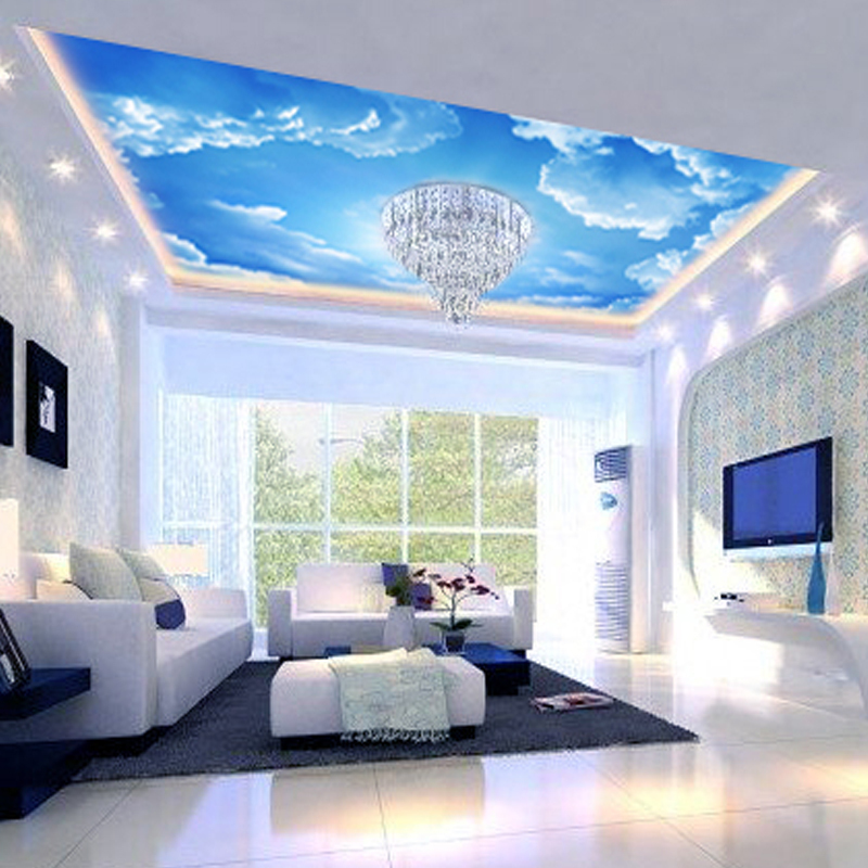 ... Three Dimensional Large Mural Wallpaper Background Wallpaper The Living  Room Sofa Bedroom Ceiling Blue Sky Part 53
