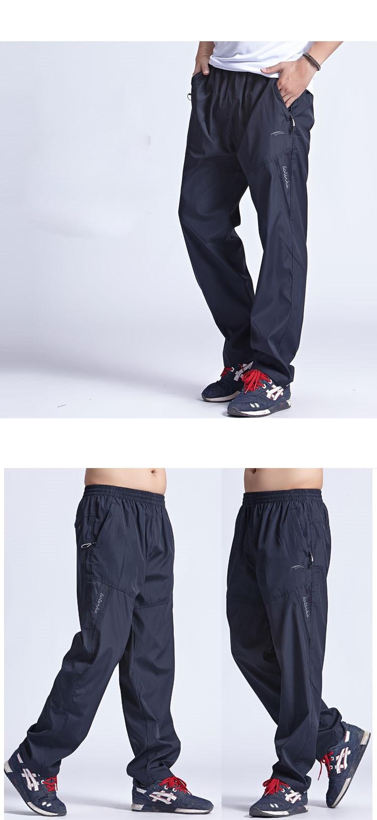 New Quickly Dry Breathable Exercise Pants Men Elastic Waist Men Active Pants Outside Trousers Sportwear Plus Size 3XL,PA095