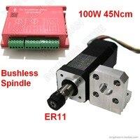 Eixo sem escova 100 w 45ncm dc24v brushless eixo 42mm motor + driver suporte de montagem er11 pinças combinar mach3 novo