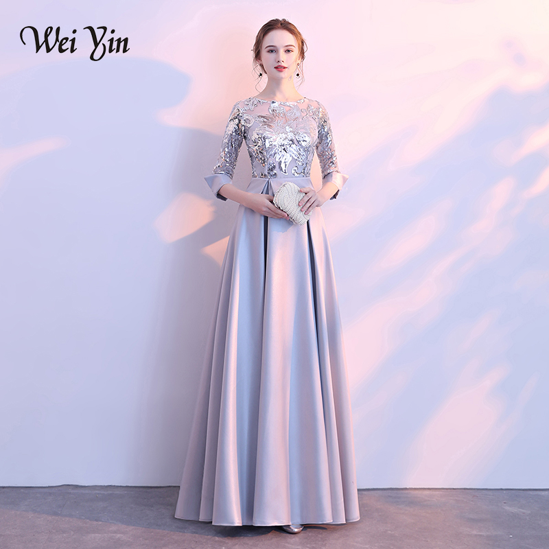 WEIYIN 2019 New Evening Dress The Banquet Elegant Gray and Navy Blue 3 4  Sleeves Satin Sequins Long Party Formal Gown -in Evening Dresses from  Weddings ... a75a8321b75c