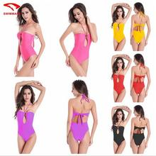 New fasion push up one-piece Swimsuits  Halter sexy bikini backless women swimwear with plus size(L-3XL)