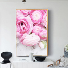 Cuadros Decoracion Salon Abstract Pink Peony Posters and Prints Wall Art Canvas Painting Flowers Pictures For Living Room