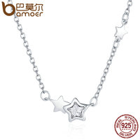 BAMOER Genuine 925 Sterling Silver Double Sparkling CZ Star Women Pendant Necklaces For Women Authentic Silver