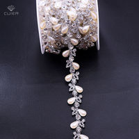 10yards White Pearl Leaf Shape Rhinestone Chain Clothing Rhinestone Trims Wedding Evening Dress Decoration Patches Appliques