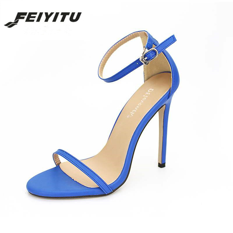 FeiYiTu Shoes women 39 s Shoes Sandals With Buckle 11 CM High Heels Gold And Silver Wedding Shoes Large Size 35 43 black white in High Heels from Shoes
