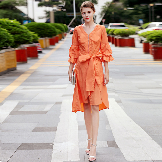 2018 Winter Orange V Neck Lace Up Bow Party Women Dress Runway Lantern Sleeve  Female Ladies 601fbf00fc48