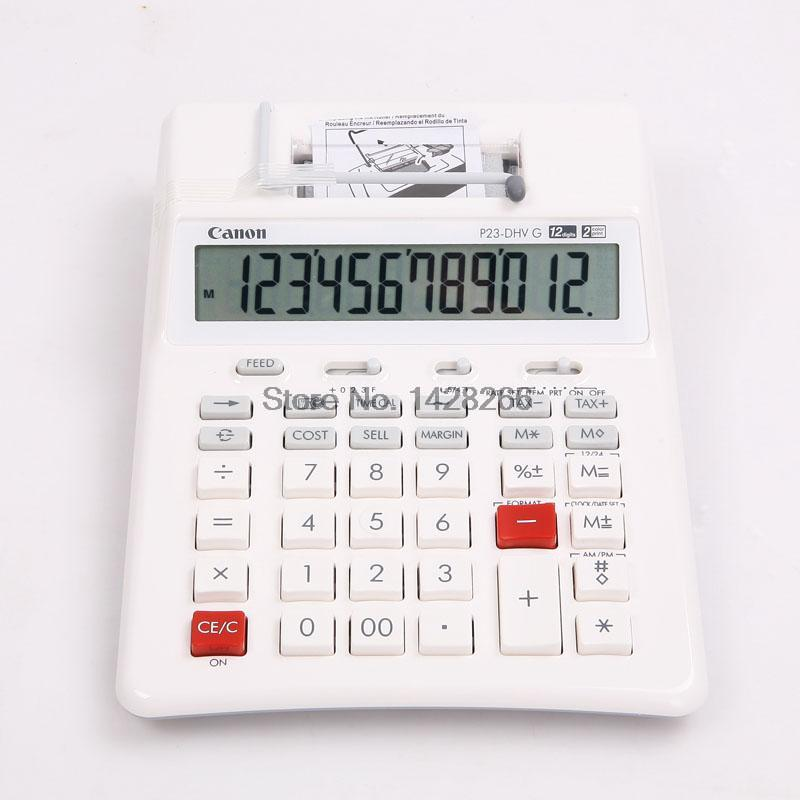 1 Piece Canon P23-DH V 2 color mini-Desktop Printing Calculator School &Office Bussiness Accounting Commercial Tax office electronic graphic calculator counter scientific calculator support image matrix vector sequence equation calculating