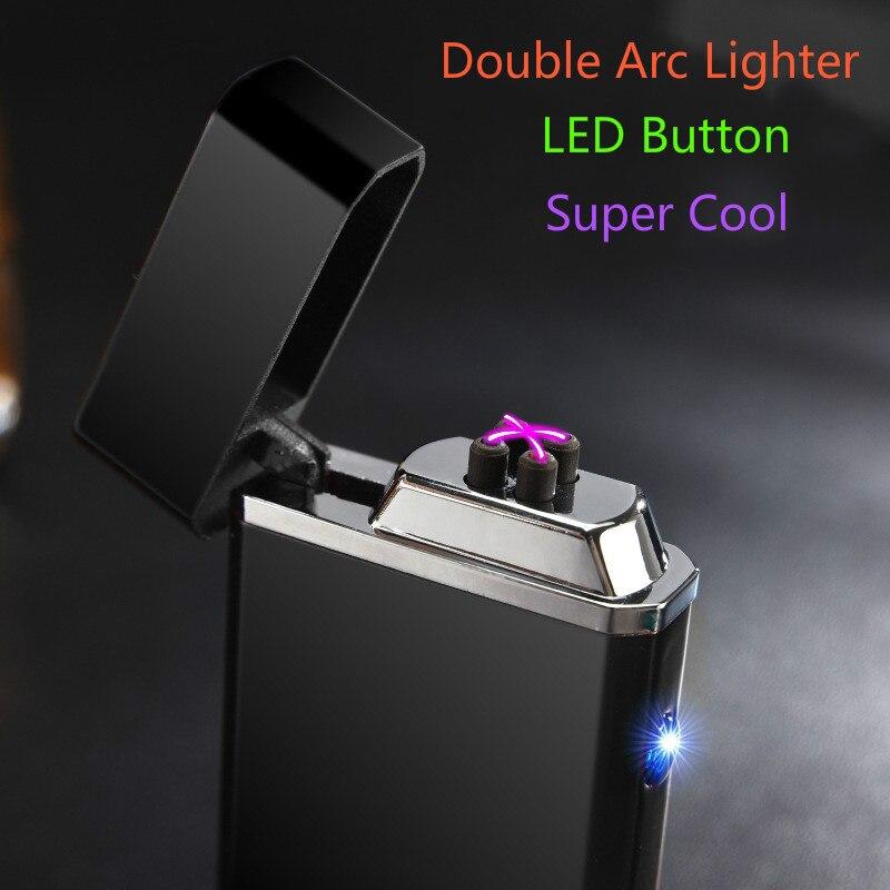 Metall Winddicht Elektronische Leichter Doppel Arc Usb Lade Elektrische Plasma Pulse für Smke Rohr Zigarette Zigarre Shisha Shisha