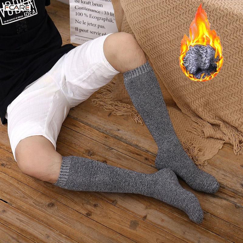 6PCS=3 pairs 39-45 Men's new winter velvet warm winter knee high long leg terry   socks   Cotton Thicken cover calf   socks