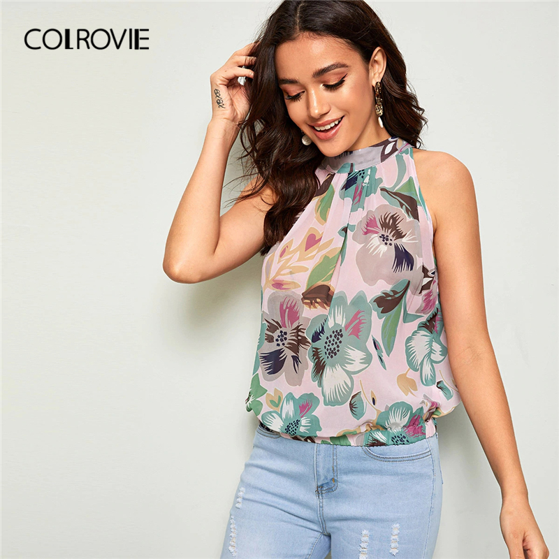 COLROVIE Keyhole Back Button Floral Print Sleeveless Boho Top Women   Blouse     Shirt   2019 Summer Holiday Casual Ladies   Blouses