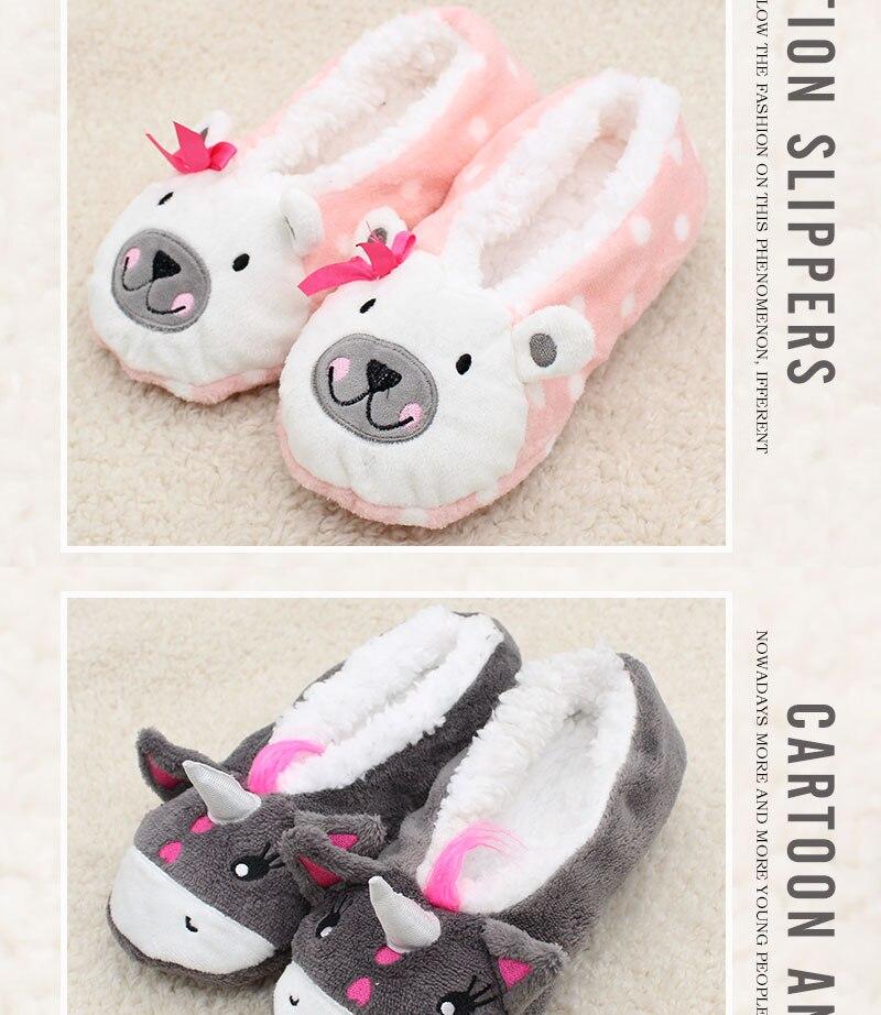 cartoon cute 18 Indoor Home Slippers Warm Soft Plush slippers Comfortable Indoor Fur Slippers Striped Cute Women Shoes 8